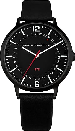 French Connection Black Leather Strap Watch