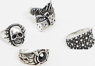 Reclaimed Vintage Inspired - Confezione di anelli grunge argento brunito