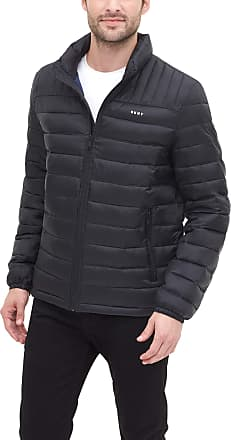DKNY Mens Water Resistant Ultra Loft Quilted Packable Puffer Jacket Down Alternative Coat, Black, Medium