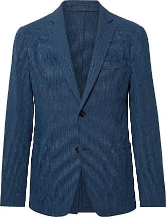 Officine Generale Navy Slim-fit Cotton-blend Seersucker Suit Jacket - Navy