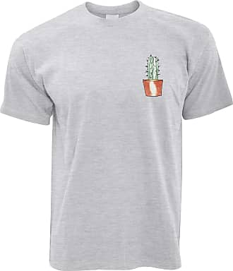 Tim And Ted Cute Plant T Shirt Drawn Cactus Art Pocket Print - (Grey/Medium)