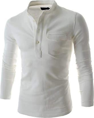 YYW Mens Casual Long Sleeve Shirt Cotton Button Down T Shirts Slim Fit Grandad Top Plain Tee Henley Shirt (White,M)