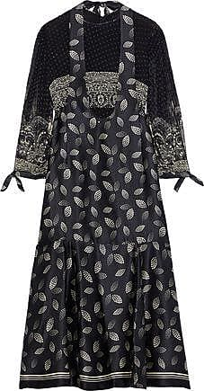 89d3ee4ddb Anna Sui Anna Sui Woman Layered Printed Fil Coupé Chiffon And Silk-satin  Midi Dress