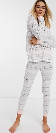 Women'secret Pijama con diseño de punto de grano de arroz pequeño y grecas alpinas en color hueso Snoopy de Womensecret-Crema