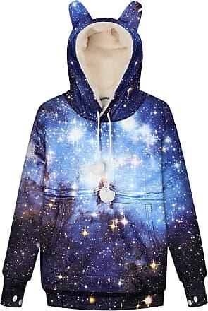 Ocean Plus Womens Galaxy Digital Hoodie Hooded Sweatshirt with Dog Pocket Cat Ears Jumper with Cat Pocket Warm Lining Sweatshirt (S (UK 8-10), Blue Galaxy)