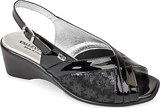 Valleverde Wedge Shoes Women Sandals Leather Black Glossy Black Size: 5 UK