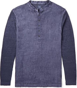 120% CASHMERE Slub Linen Henley Shirt - Navy