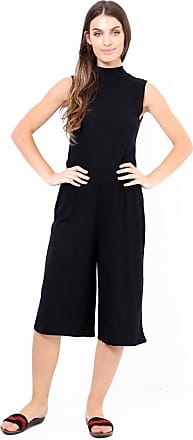 ZEE FASHION Womens Elasticated 70s Wide Leg Culottes Shorts Knee Length Palazzo Plus Size UK 8-26 Black