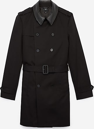 The Kooples Schwarzer Lederkragen-Baumwolltrenchcoat - DAMEN