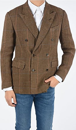 Dries Van Noten check and houndstooth flax double-breasted blazer Größe 52