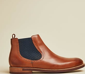Ted Baker Leather Chelsea Boots in Dark Tan SECARR, Mens Accessories