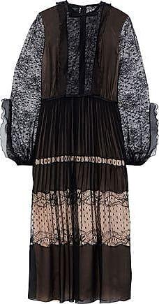 Giambattista Valli Giambattista Valli Woman Pleated Silk-chiffon, Lace And Point Desprit Midi Dress Black Size 40