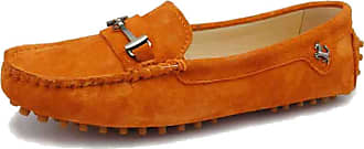 MGM-Joymod Ladies Womens Casual Slip-on Metal Buckle Orange Suede Walking Driving Loafers Flats Moccasins Hiking Shoes 6.5 M UK