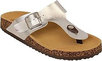 b3effcff6cc0 MCM cm Damen Pantoffeln Sandalen Slipper Damen Flach Zehensteg Patent Kork  Zehentrenner Sommer - Silber -
