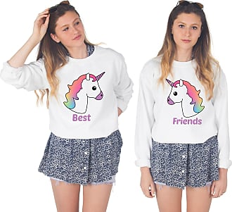 Sanfran Clothing Sanfran - Unicorn Best Friends Matching Top Set BFF Squad Jumper Sweater - Small & Small/White