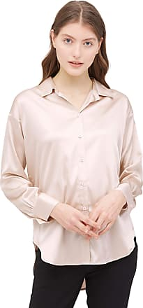 LilySilk Silk Shirts for Women Charmeuse Long Sleeve Ladies Vintage Work Semi Formal Casual Style Light Beige XL