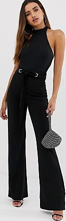 Missguided Weitgeschnittene, elastische Krepphose in Schwarz mit Ösenverzierung an der Taille