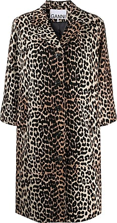 Ganni leopard-print linen-blend coat - Brown