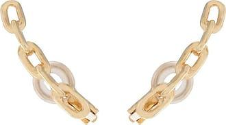 Jack Vartanian Par de brincos Cometa Chain prata com banho ouro 18k - Dourado