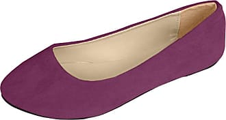 Vdual Women Ladies Slip On Flat Comfort Walking Ballerina Shoes Size UK 2.5-8 Purple