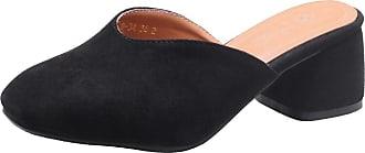 RAZAMAZA Women Slip On Block Heel Mule Shoes Black Size 34 Asian