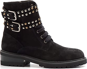 Via Roma 15 Black ankle boot with buckles and studs - 2889 Velour - Size Black Size: 7 UK
