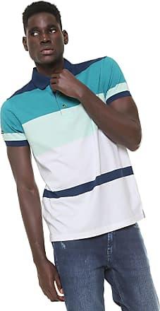 335fa685ba07b Aleatory Camisa Polo Aleatory Reta Listrada Azul Verde