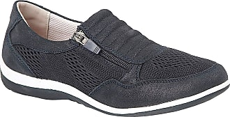 Boulevard Ladies Comfy Side Zip Leisure Casual Shoes (8, Navy Shimmer)