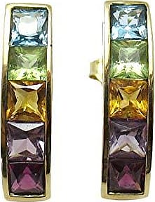 Boreale Joias Brinco Ouro 18k 750 Ear Cuff Rainbow Pedras Naturais Carré