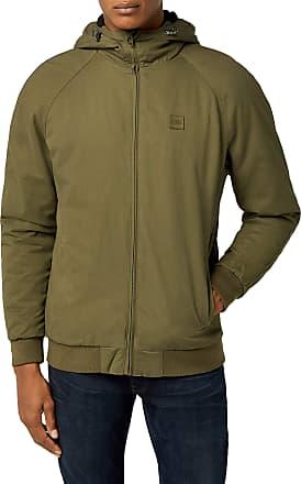 Urban Classics Mens Hooded Cotton Zip Jacket, Green (Dark Olive 551), L