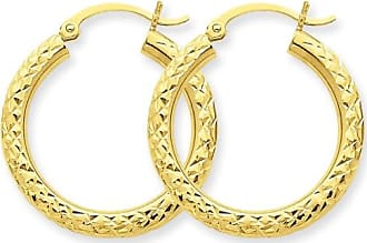 Quality Gold 14kt Yellow Gold Diamond-Cut 3mm Round Hoop Earrings