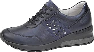 Waldläufer Waldlaufer 939004 H Clara Ladies Deep Blue Metallic Leather Lace Up Shoe
