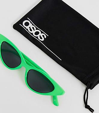 d13f6c08c2 Asos plastic cat eye sunglasses in neon green with smoke lens - Green