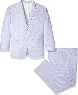 U.S.Polo Association Mens Seersucker Nested Suit, Blue/White, 50 Long