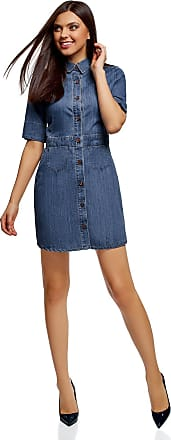 oodji Womens Buttoned Denim Dress, Blue, UK 8 / EU 38 / S