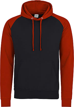 Awdis Mens Baseball Hoodie Jacket Contrast Raglan Sleeves Ribbed Cuffs and Hem (X-Large, Jet Black/Fire Red)
