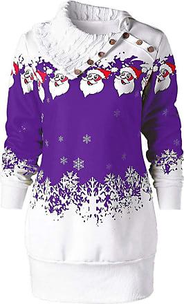 FNKDOR JUTOO Womens Fashion Lace Long Sleeve Print Christmas Party Swing DressWomens Christmas Santa Claus Snowflake Print Plus Size Tunic Sweatshirt Dress P