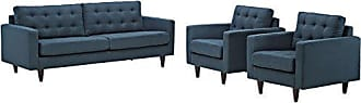 ModWay Modway EEI-1314-AZU Empress Mid-Century Modern Upholstered Fabric Sofa and Two Armchair Set Azure