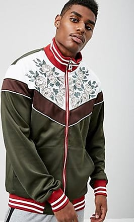 21 Men Reason Embroidered Colorblock Track Jacket at Forever 21 Olive/white