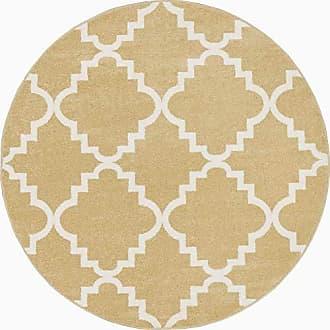 Well Woven 21010 Sydney LuLus Lattice Gold Modern Geometric Trellis Area Rug 53 Round
