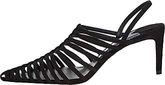 RAZAMAZA Women Fashion Stiletto Sandals Pointed Toe Slip on Strappy Party Dress Shoes Slingback Sandals Black Size 39 Asian