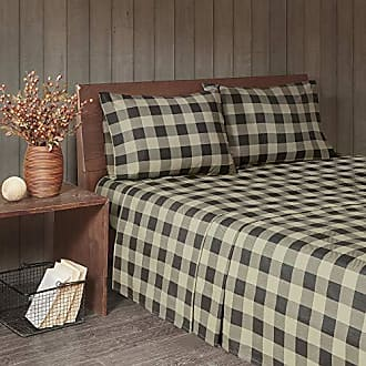 Woolrich 100% Cotton Flannel Ultra Soft Warm Cozy Cold Weather Winter Cute Animals Chic Printed Sheet Set Bedding, Queen Size, Tan/Black Buffalo Check