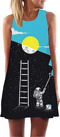 Ocean Plus Womens Sleeveless Vintage Boho Beach Dress Sundress Tank Tops Beach Dress Round Neck Short A Line Shirt Dress Blouse Dress (XXL (UK 14-16), Astronaut