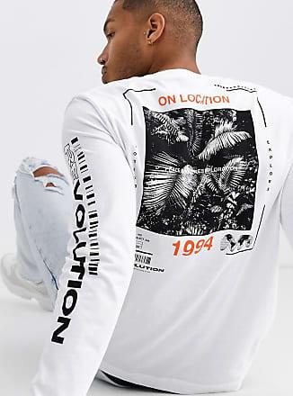 Topman Langärmeliges Shirt mit Print in Weiß