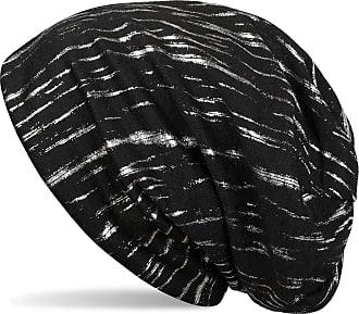 styleBREAKER Beanie with Metallic Stripes, Slouch Long Beanie, Unisex 04024120, Color:Black