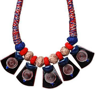 Novica Cotton and ceramic pendant necklace, Elements of Nature
