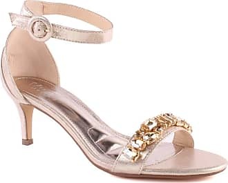 7d9309fc6a1 Unze Unze Women Flavia Shimmery Ankle Strap Crystal Decorated Buckle Closure  Party Closed Heel Cup Evening