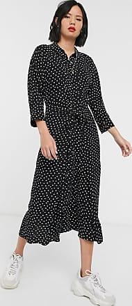 Whistles abstract spot selma tie print midi shirt dress-Black