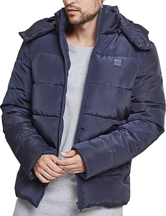 Urban Classics Mens Hooded Puffer Quilted Interior Padded Jacket with Elasticated Cuffs, High Neck Zipper, Removable Hoodie, Navy, 3XL