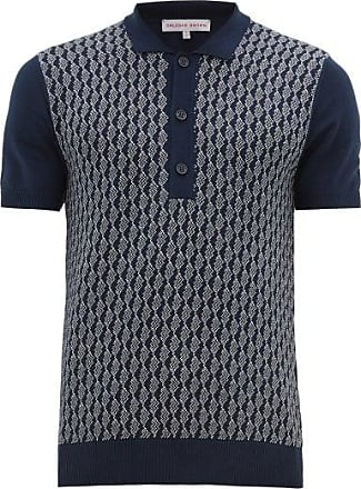 Orlebar Brown Rushton Intarsia-knit Cotton Polo Shirt - Mens - Navy White